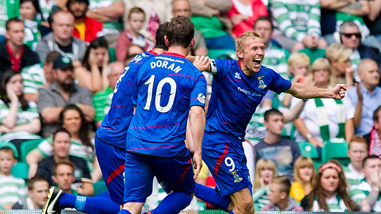 Richie Foran celebrates Inverness' second goal against Celtic