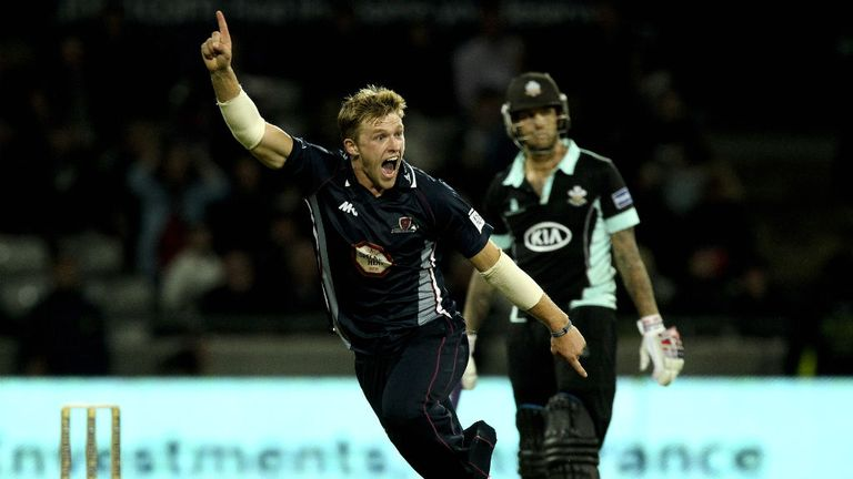 David Willey celebrates his hat-trick in the t20 final against Surrey