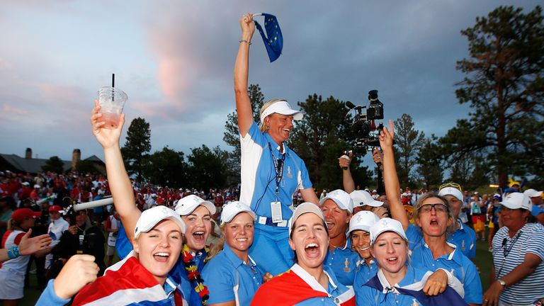 Winners: Team Europe celebrate their historic success