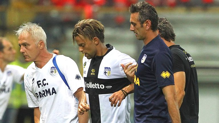 Daniele Galloppa: Carried off pitch after sustaining injury
