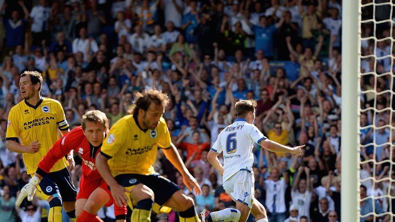 Luke Murphy celebrates his winning goal for Leeds United