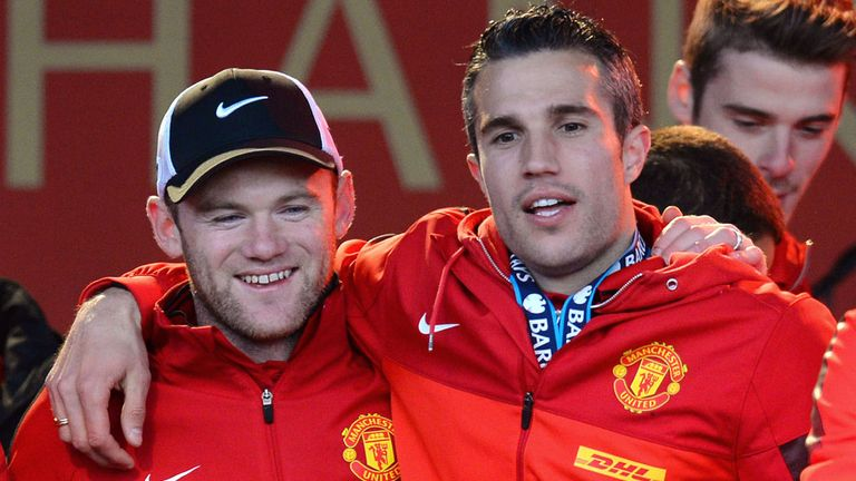 Wayne Rooney and Robin van Persie celebrate United's 20th league title back in May