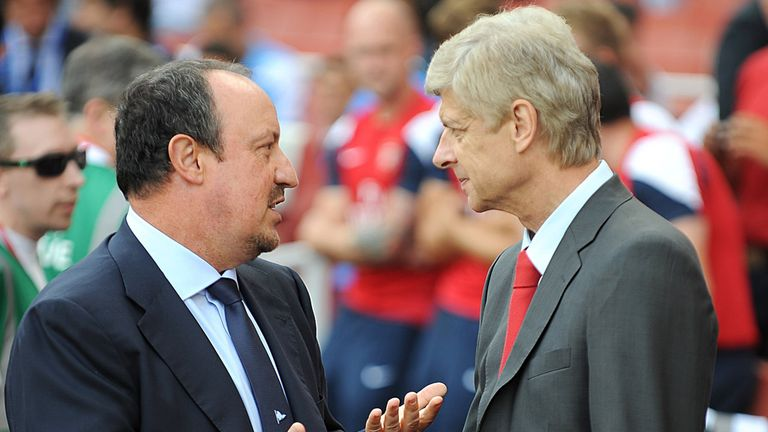 Rafael Benitez with Arsene Wenger last season