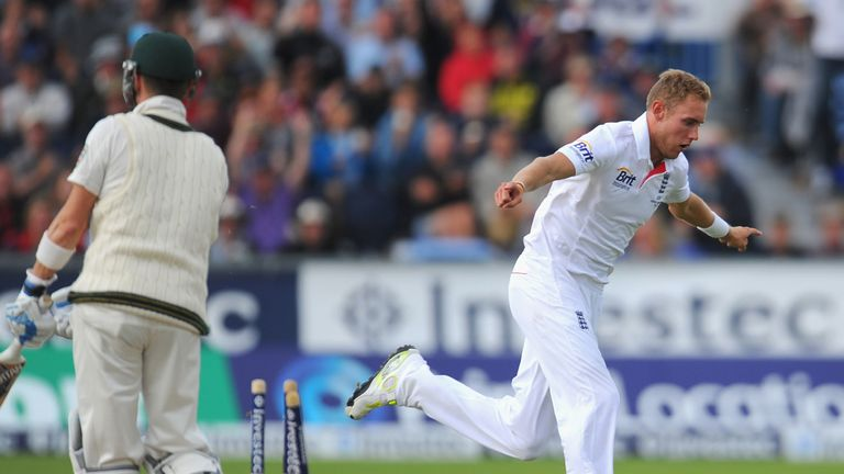 Stuart Broad celebrates another wicket at Chester-le-Street