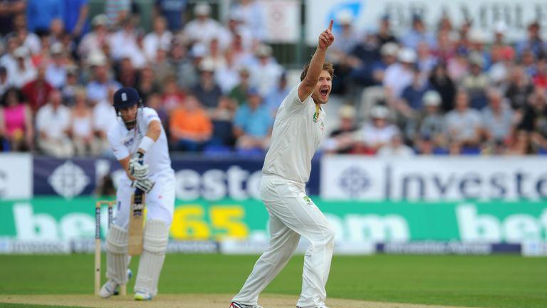 Shane Watson claims the wicket of Joe Root, the first of nine on the day