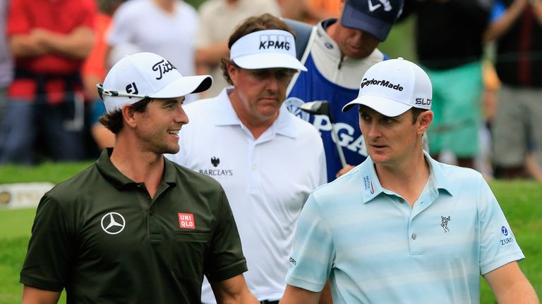 Adam Scott, Phil Mickelson and Justin Rose at the US PGA Championship.