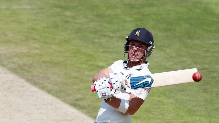 Laurie Evans: Unbeaten on 130 at the close of play on day two