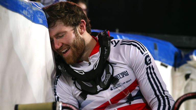 Liam Phillips savours the moment after winning the BMX world title on Sunday