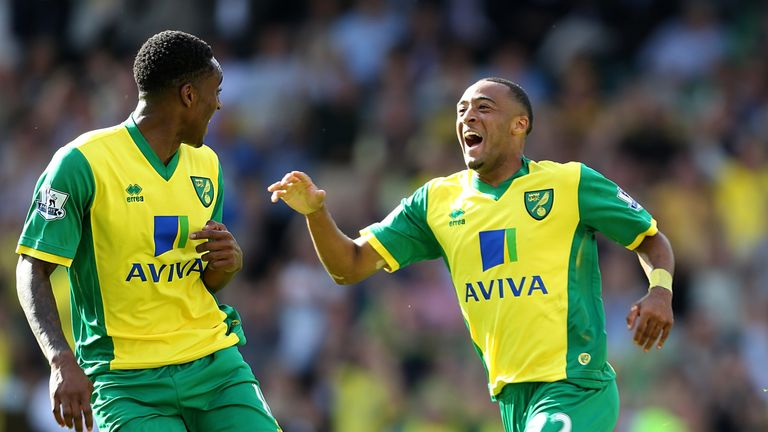 Nathan Redmond: Norwich winger celebrates scoring against Southampton