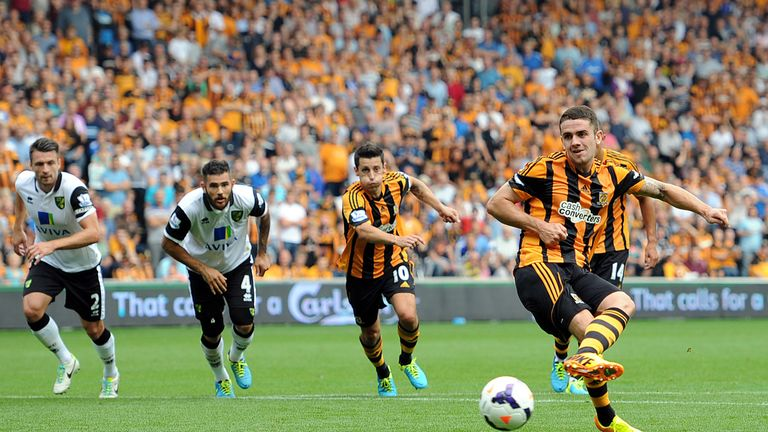 Robbie Brady's penalty proved the difference for Hull against Norwich