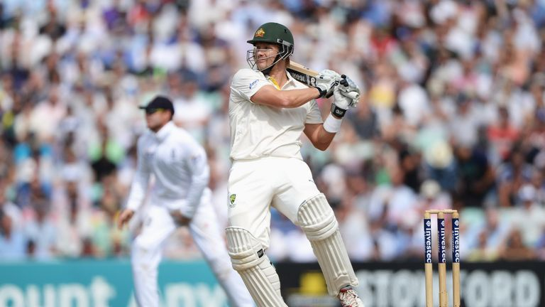 Shane Watson lashes another short ball to the boundary
