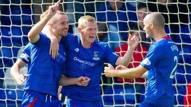 James Vincent (centre) celebrates debut goal against St Mirren