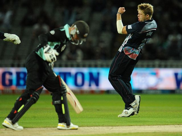 David Willey celebrates the wicket of Surrey's Jason Roy
