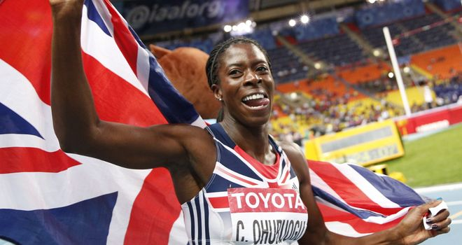Christine Ohuruogu celebrates gold