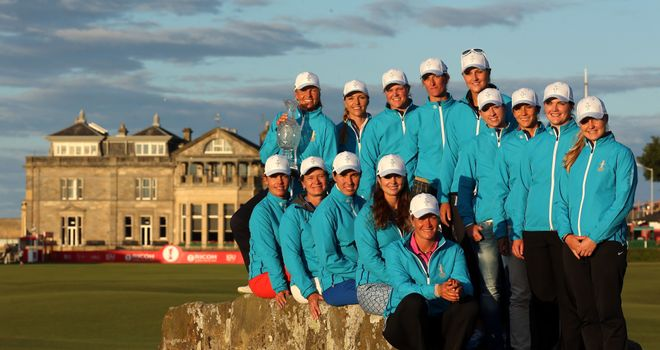 The 2013 European Solheim Cup team on the Swilcan Bridge
