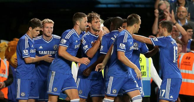 Branislav Ivanovic (c): Celebrates his winner for Chelsea