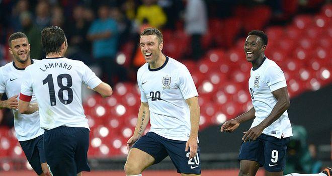 Rickie Lambert: Celebrates with his England team-mates