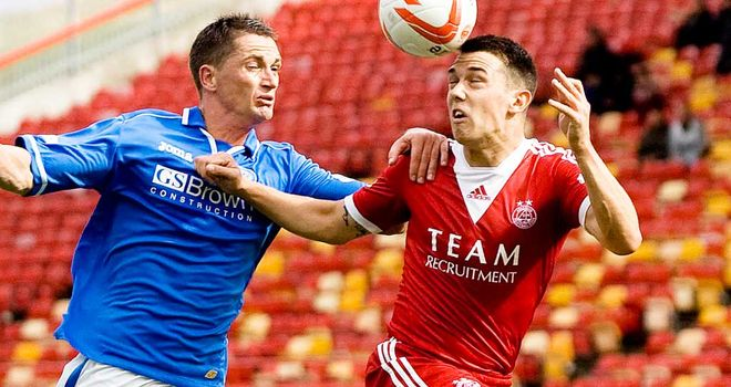 Gary McDonald St Johnstone man challenges Ross Jack of Aberdeen