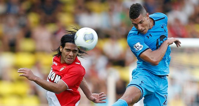 Falcao: Goes up for a challenge with Jake Livermore