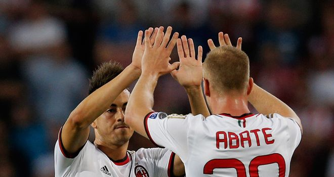 Milan goalscorer Stephan El Shaarawy and Ignazio Abate celebrate opener