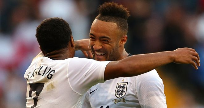 Nathan Redmond: Receives a hug from Raheem Sterling