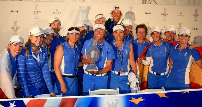 Europe celebrate their Solheim Cup triumph