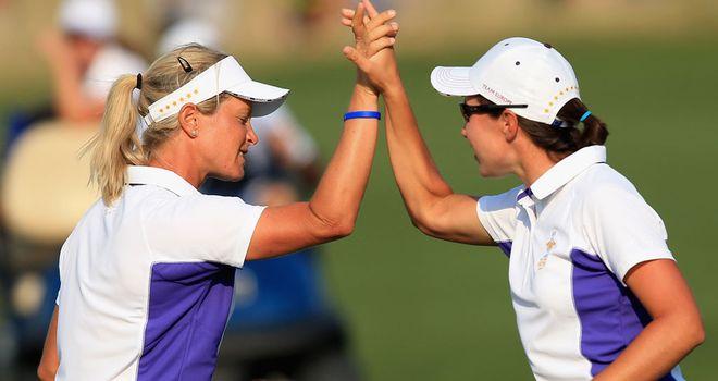 Suzann Pettersen and Carlota Ciganda won a thrilling match