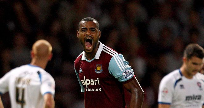 Ricardo Vaz Te: West Ham attacker celebrates scoring the opening goal