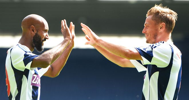 Nicolas Anelka (left) with West Brom's other goalscorer Markus Rosenburg