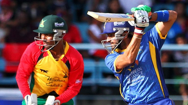 Shoaib Malik scores 49 for Barbados Tridents in the  CPLT20