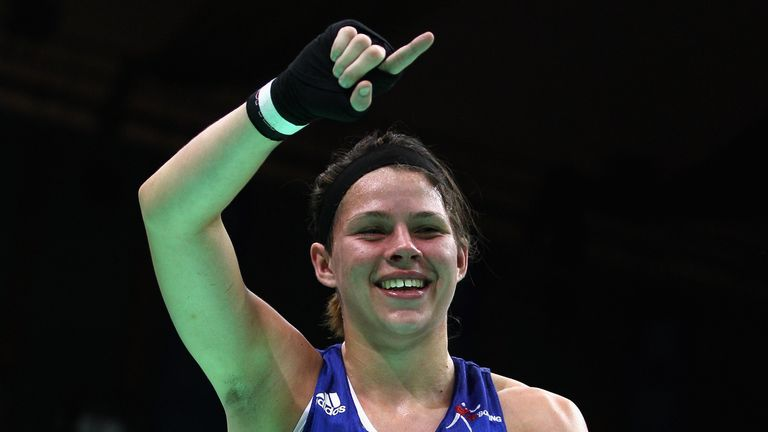 Savannah Marshall of England celebrates winning gold medal after the Women's 75kg Final during the AIBA Women's World Boxing Championships on May 19, 2012 in Qinhuangdao, China.