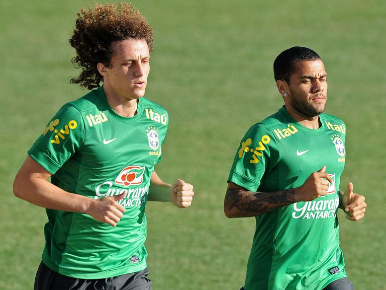 David Luiz: Training with Brazil and potential new team-mate Dani Alves