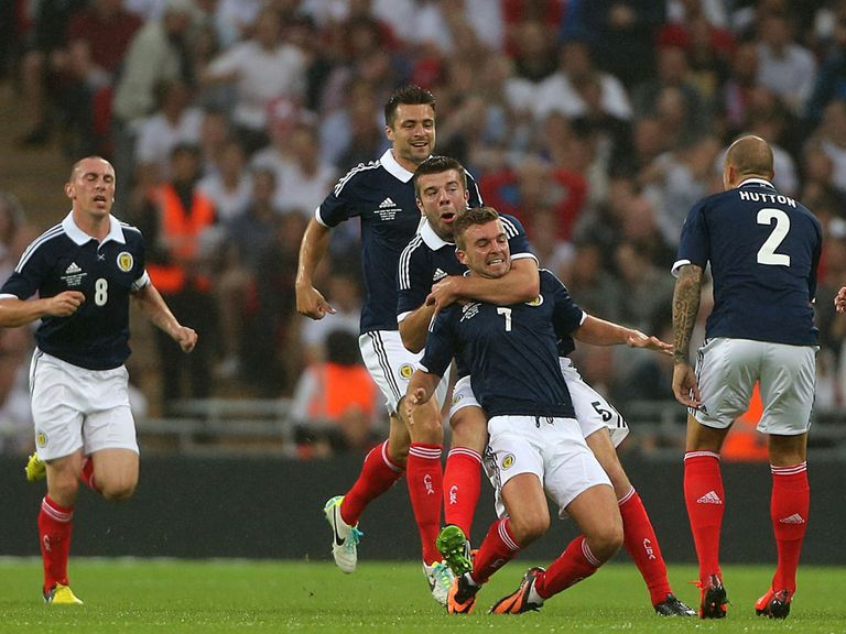 James Morrison celebrates his goal against England.