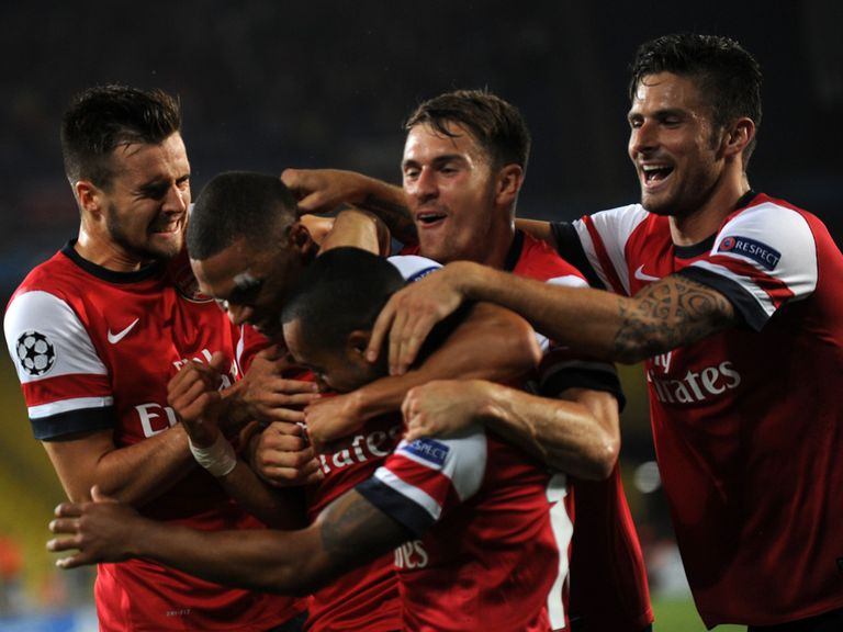 Arsenal celebrate Gibbs' opener in Turkey