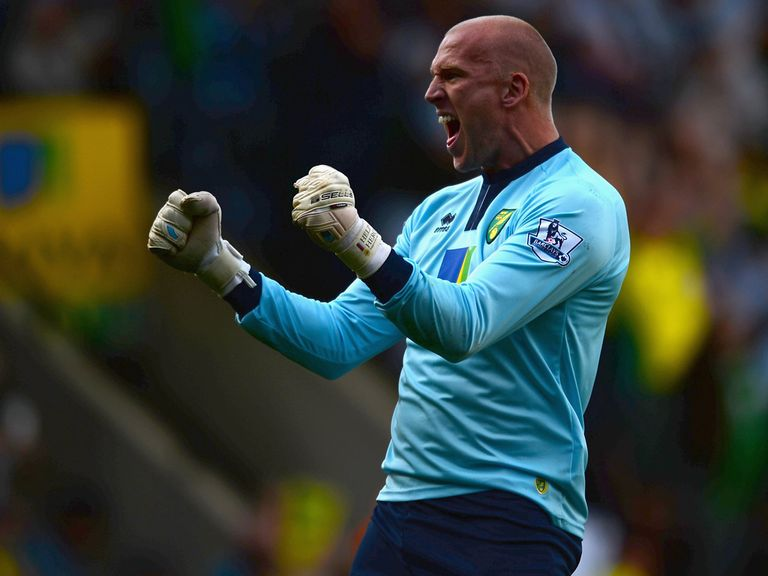 Norwich goalkeeper John Ruddy can celebrate victory at Tottenham.