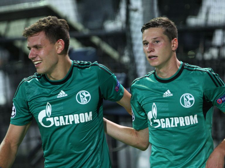 Adam Szalai and Julian Draxler celebrate for Schalke