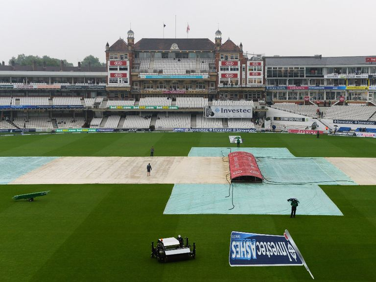 The covers were on all day on Saturday at The Oval