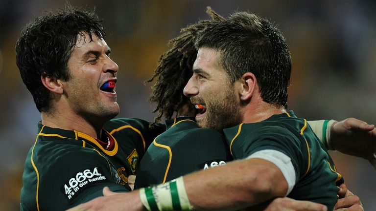 South Africa celebrate a Willie le Roux try against Australia