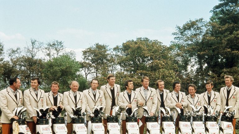 Maurice (third from the left) and the 1973 GB & Ireland Ryder Cup team