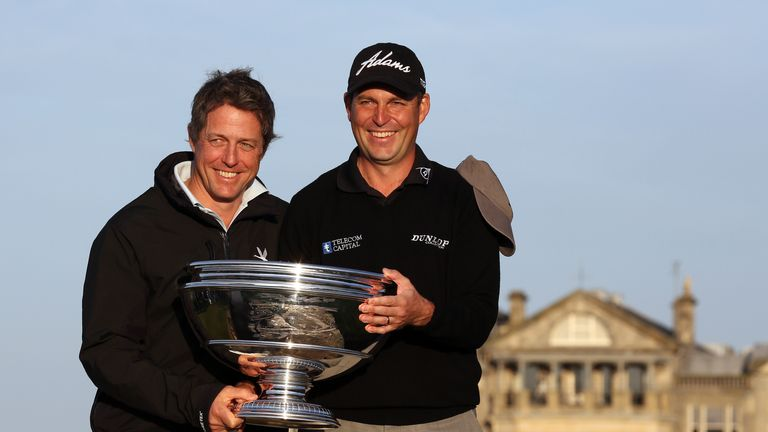David Howell alongside pro-am playing partner Hugh Grant