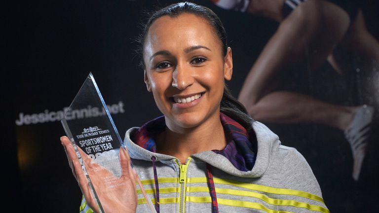 Jessica Ennis-Hill with last year's trophy (picture: Sunday Times)