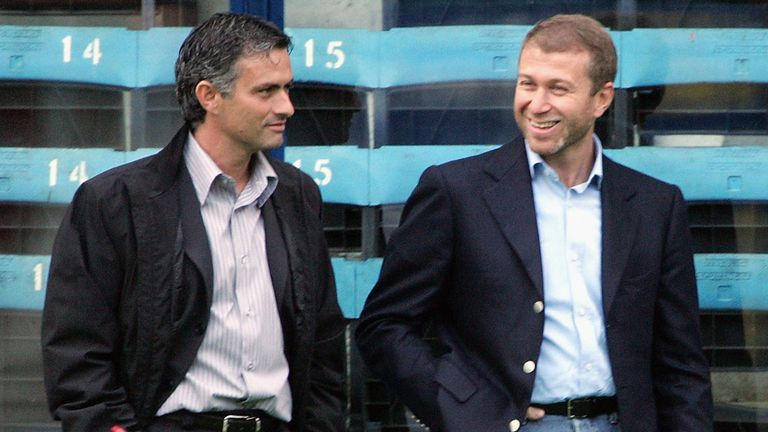 Chelsea boss Jose Mourinho with club owner Roman Abramovich
