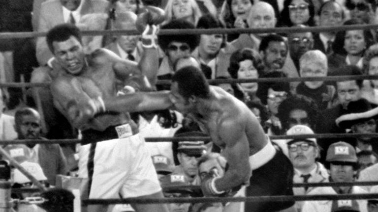 Ken Norton catches Muhammad Ali during their third fight at Yankee Stadium