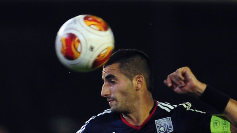 Maxime Gonalons: Lyon's French midfielder heads the ball at Betis