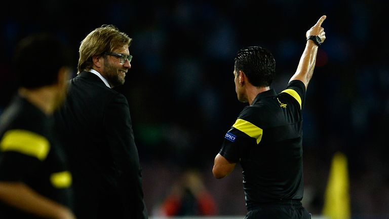 Jurgen Klopp: Sent to the stands against Napoli