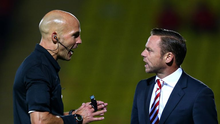 Paul Dickov: Confronts ref Darren Drysdale