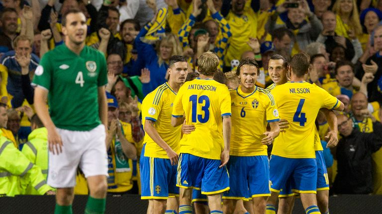 Sweden came from behind to beat the Republic of Ireland 2-1 in Dublin