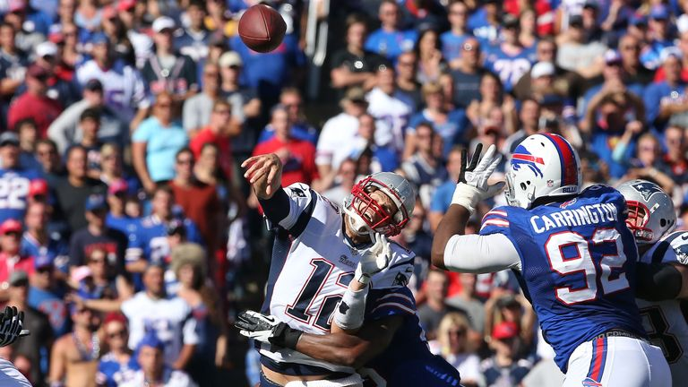 Tom Brady of the New England Patriots throws against the Buffalo Bills.