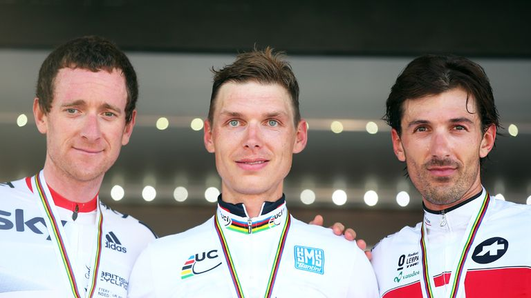 Bradley Wiggins (left): Joined Tony Martin (centre) and Fabian Cancellara (right) on podium