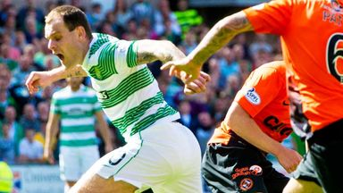 Anthony Stokes: Celtic striker is tripped during the match at Dundee United